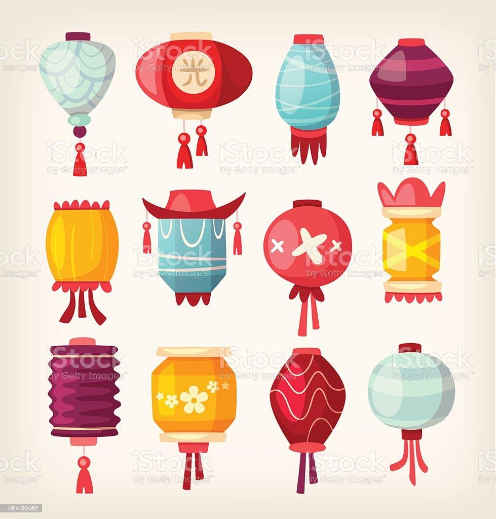 Chinese paper hanging lanterns vector art illustration