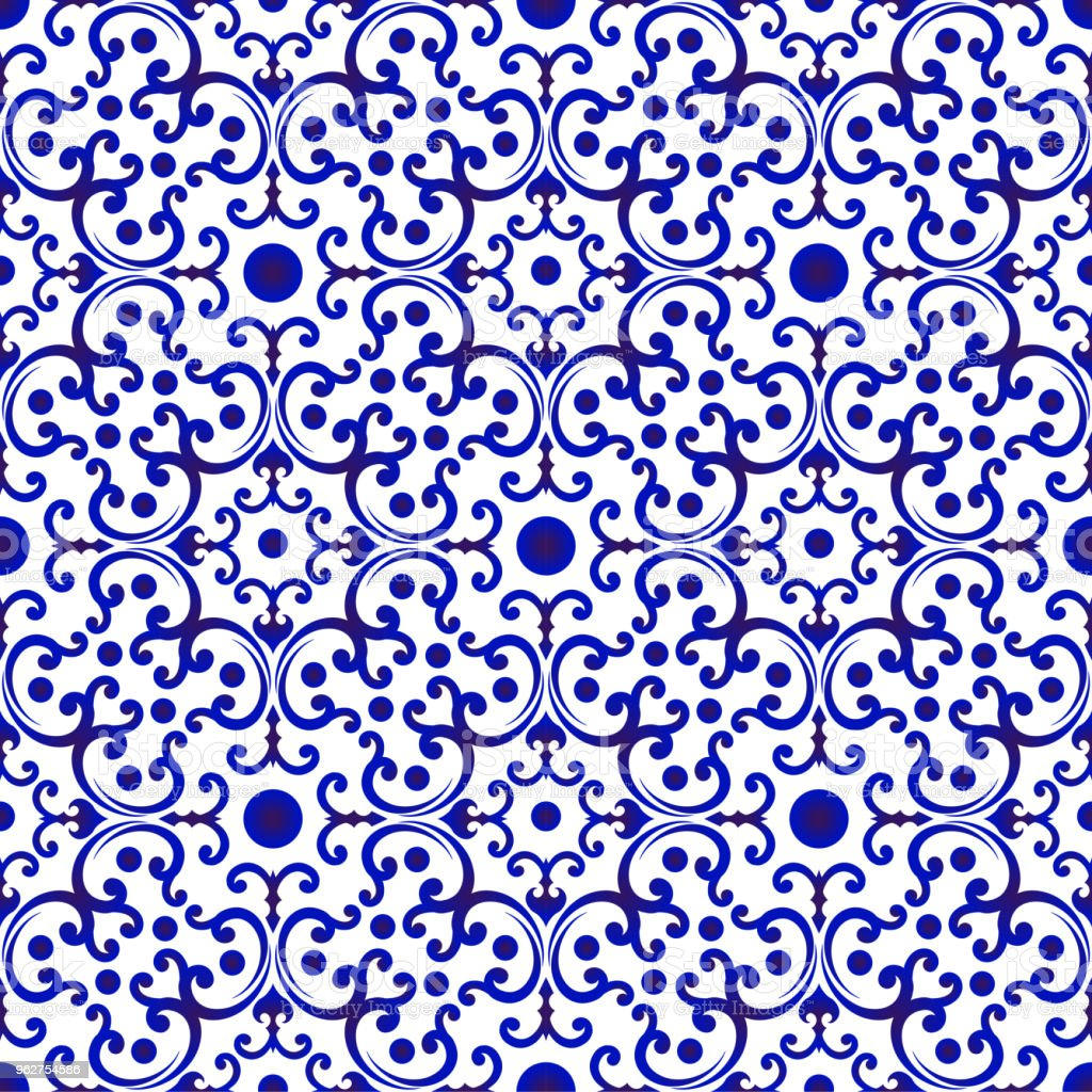 Chinese Pattern Blue And White Stock Illustration Download Image Now Istock