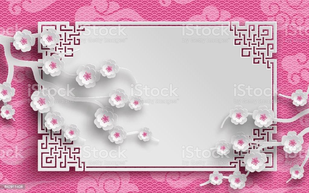Chinesische Muster Rahmen Mit Sakura Zweige Und Wolken Stock Vektor ...