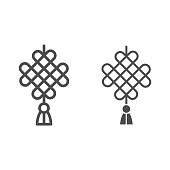 Chinese pattern line and solid icon, chinese mid autumn festival concept, celtic weave sign on white background, hanging amulet from china icon in outline style for web design. Vector graphics