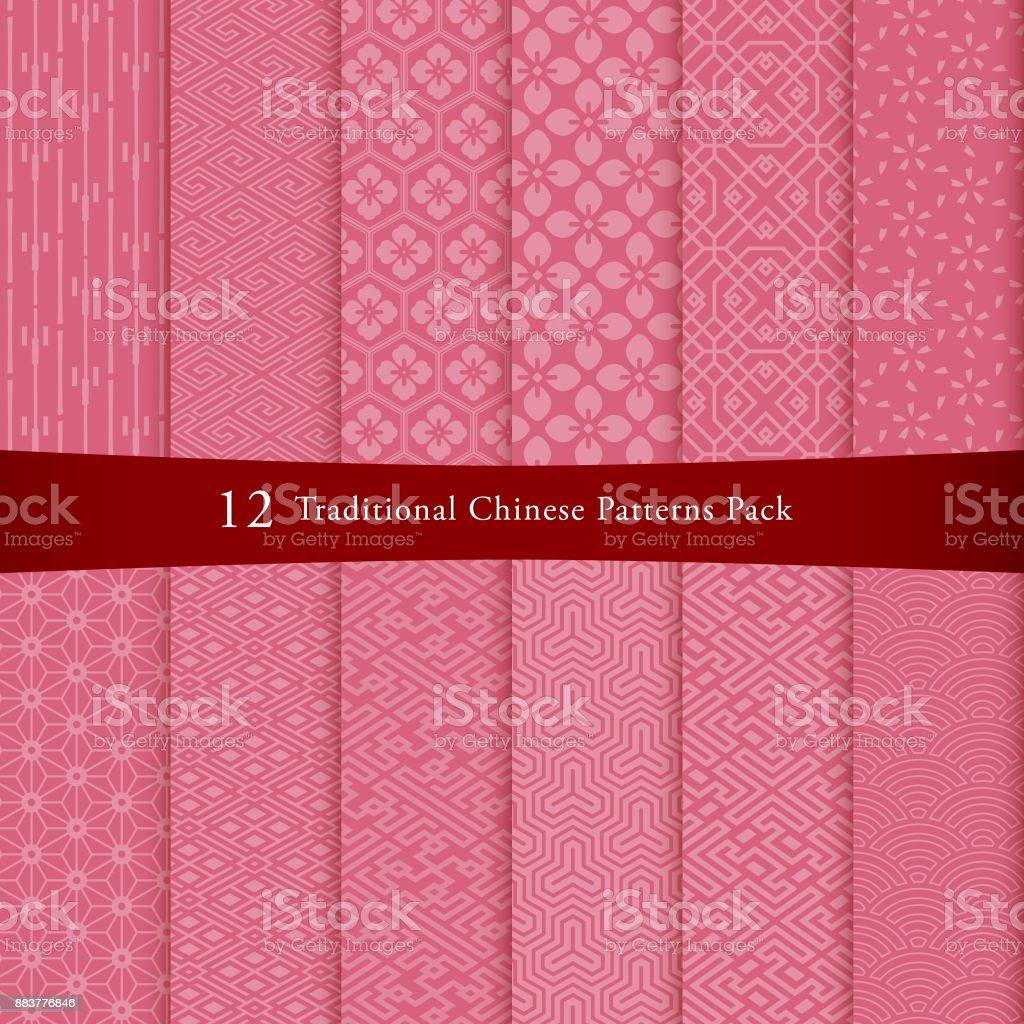 Chinese pattern set vector art illustration