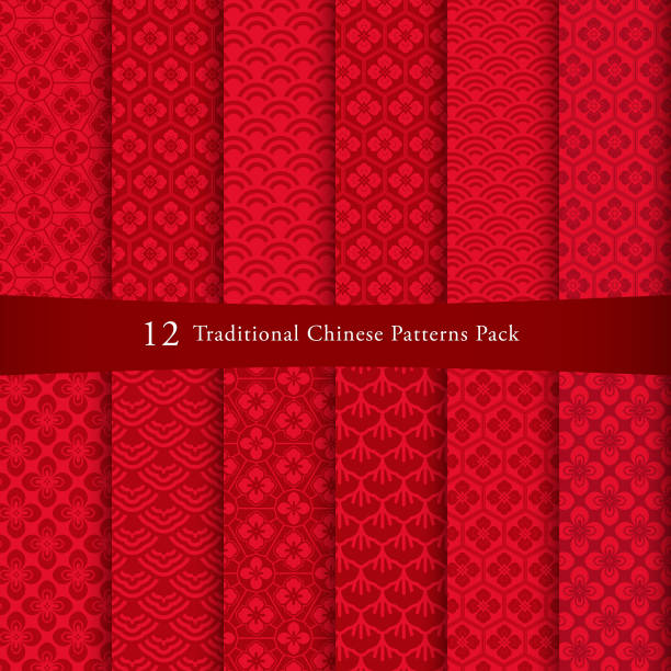 Chinese pattern set Chinese pattern set. Decorative background, come with layers. china stock illustrations