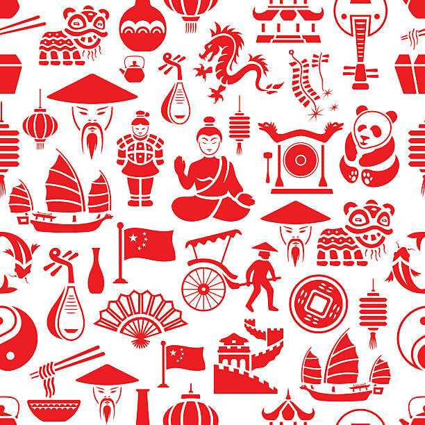 chinese pattern - chinese food stock illustrations, clip art, cartoons, & icons