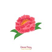 Chinese peony. Silk embroidery. The most popular flower in China. National floral symbol. Holiday decoration in a flat cartoon style. Editable vector illustration isolated on white background