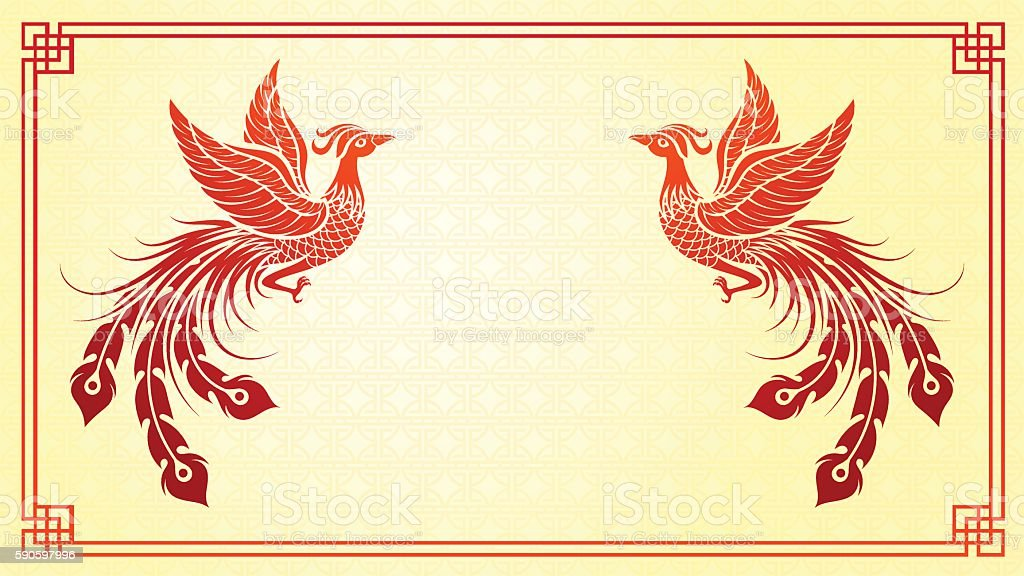 Chinese phoenix template vector art illustration