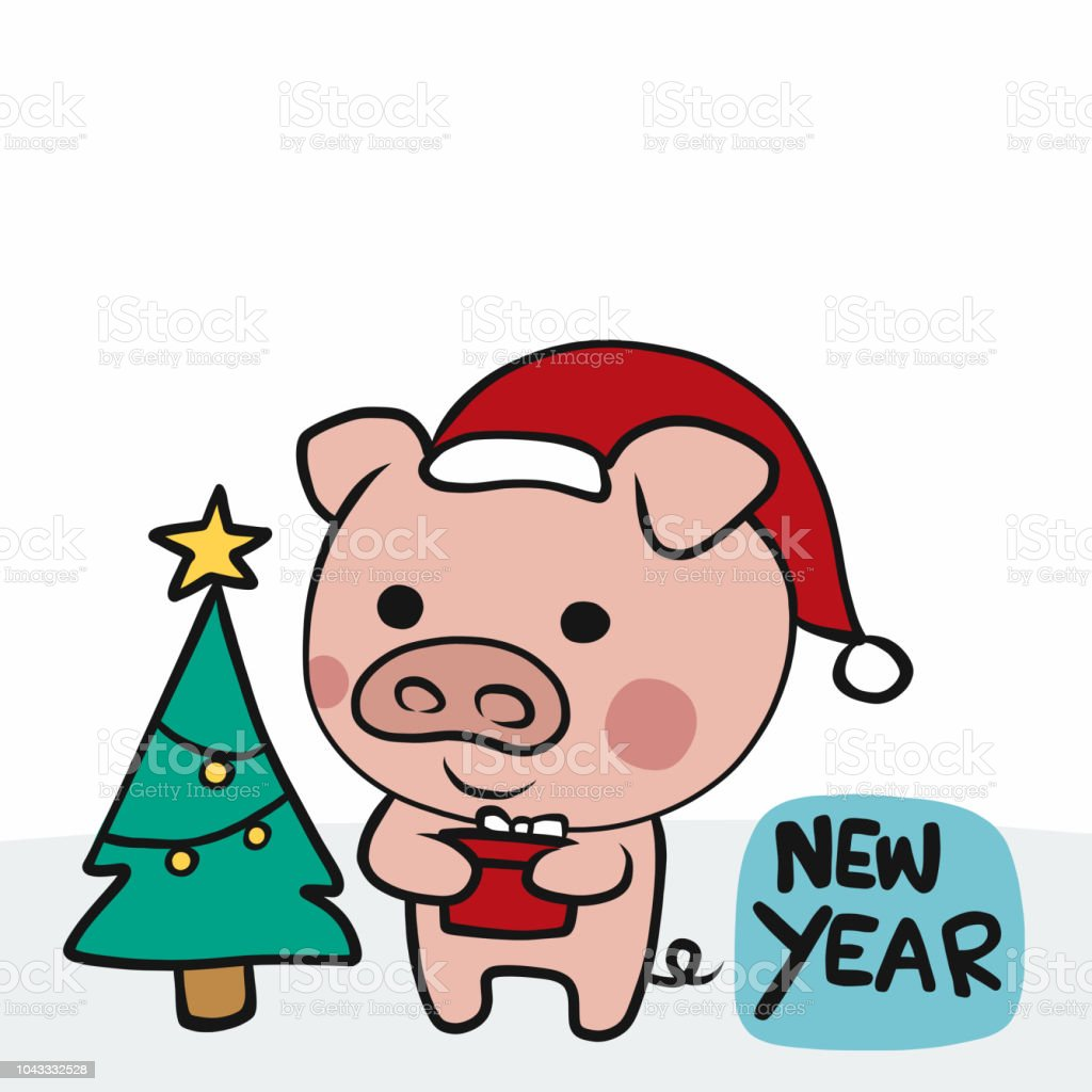 Chinese Pig Year With Gift And Christmas Tree New Year Stock Vector ...