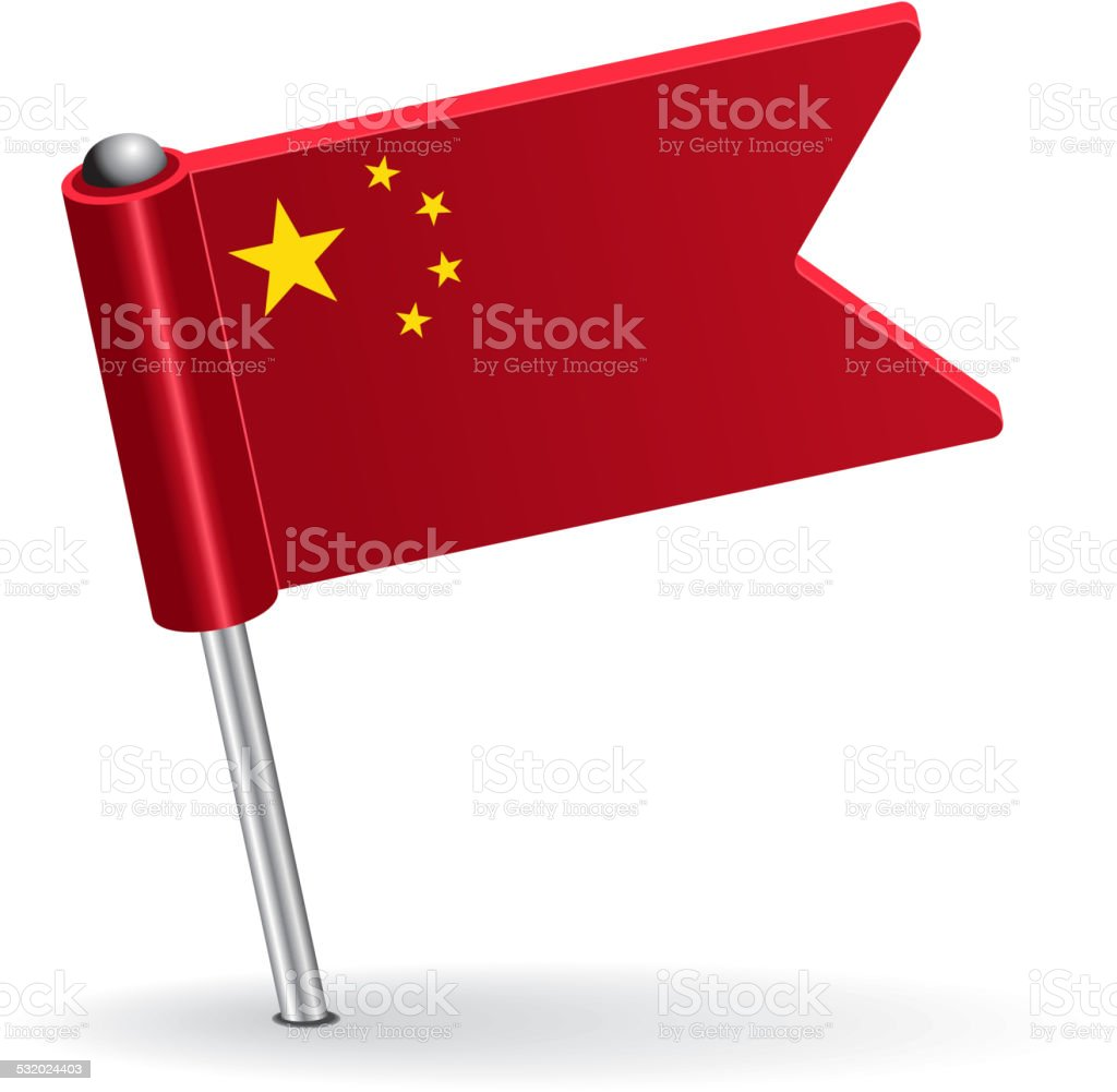 Chinese pin icon flag. Vector illustration vector art illustration