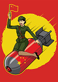 vector of chinese pin up girl ride the nuclear bomb