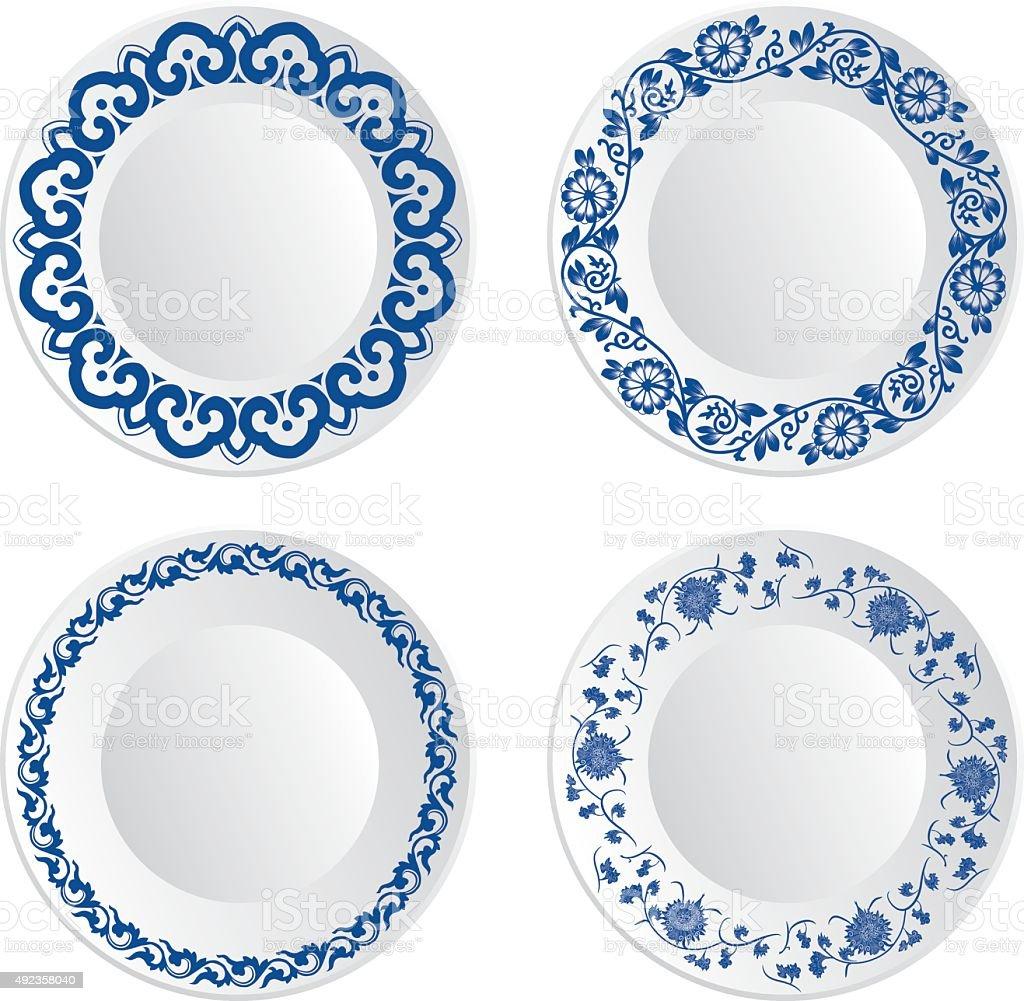 Chinese porcelain plate vector art illustration