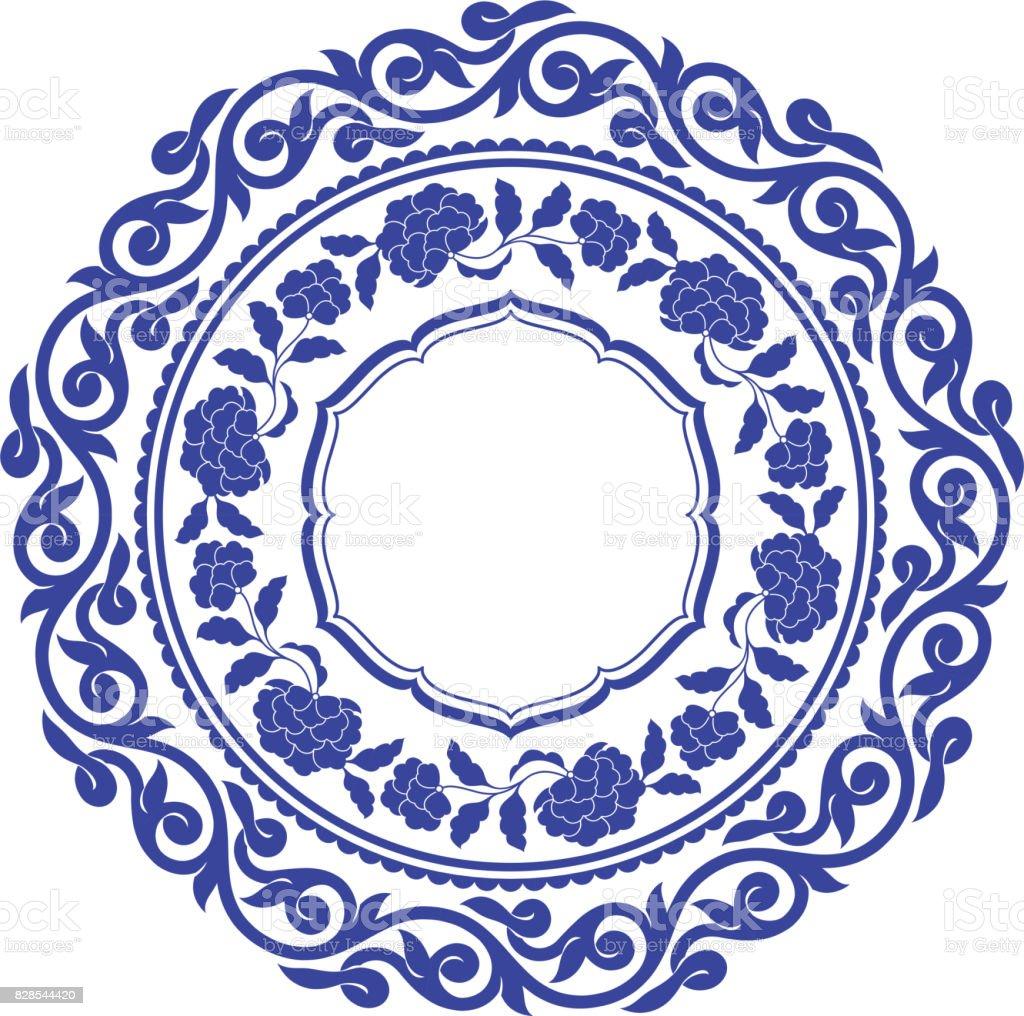 Chinese porcelane round frame vector art illustration
