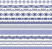 Chinese porcelane seamless borders vector set. Vintage style illustration.