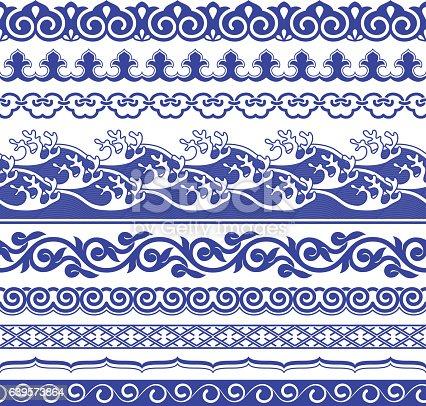 Chinese porcelane seamless borders vector set. Vintage style illustration.