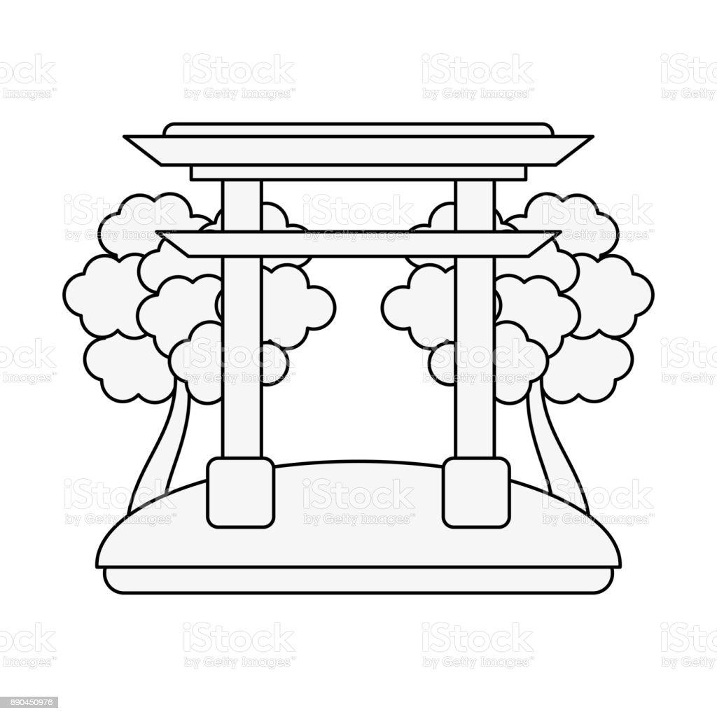 Chinese portal symbol vector art illustration