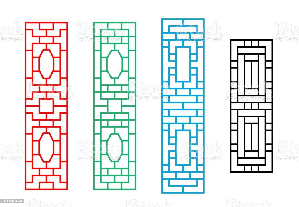 Vetores De Moldura Da Janela Retangular Chinesa Em Desenho