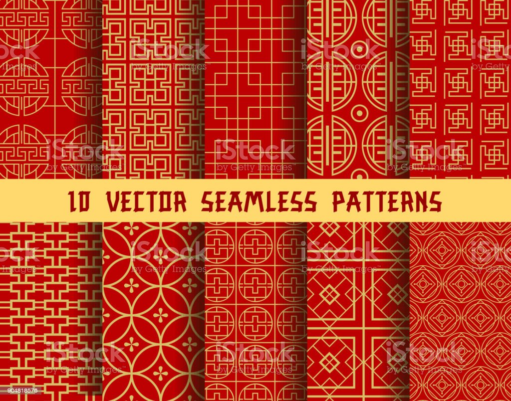 Chinese red golden vector Asian oriental patterns vector art illustration