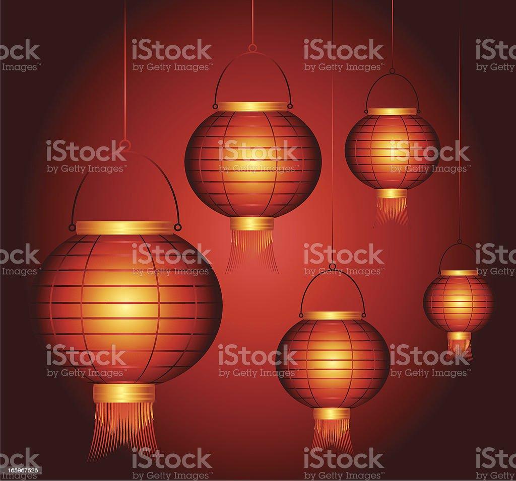 Chinese Red Lantern vector art illustration