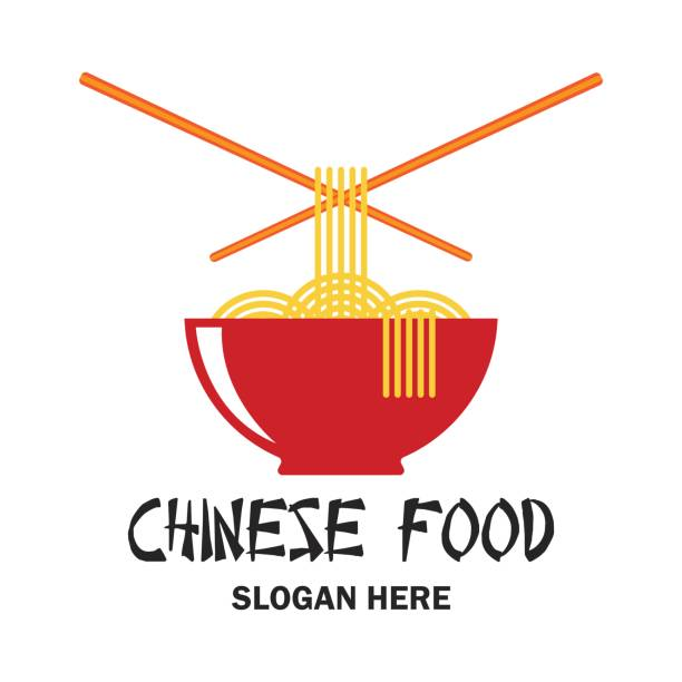 chinese restaurant / chinese food icon with text space for your slogan / tagline, vector illustration - chinese food stock illustrations, clip art, cartoons, & icons