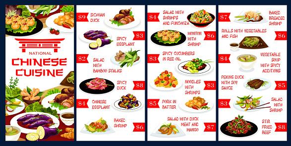 Chinese restaurant meals menu vector template