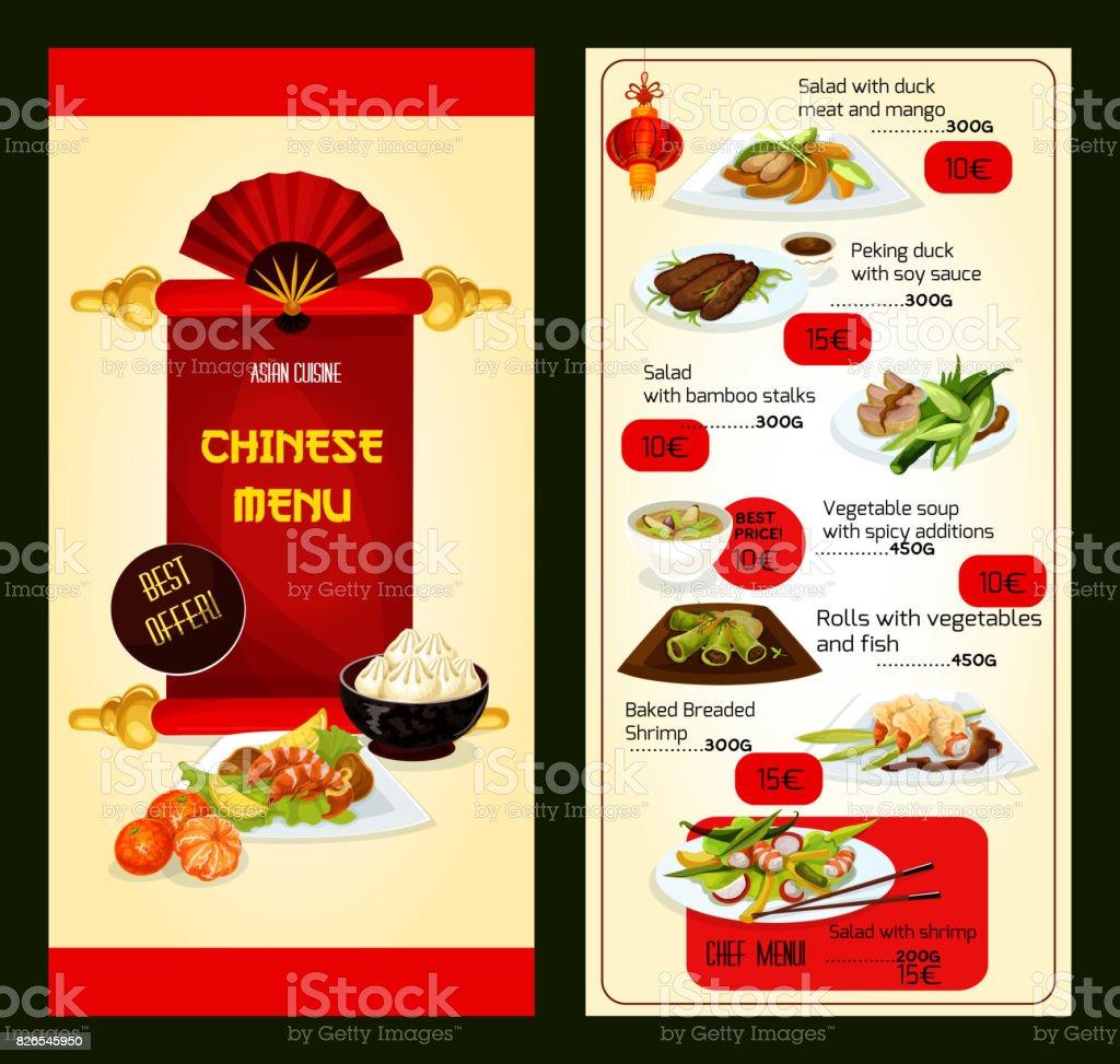 Menu Restaurant Chinois Avec Des Plats De Cuisine Asiatique Vecteurs ...
