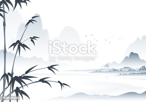 A black and white traditional Chinese scenery ink painting with bamboo in the foreground.