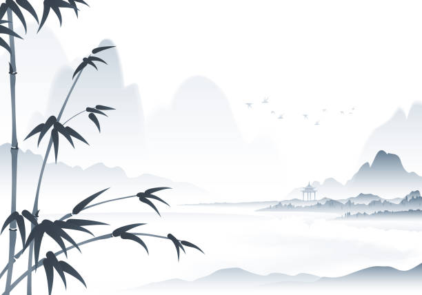 chinese scenery ink painting with bamboo in the foreground vector art illustration