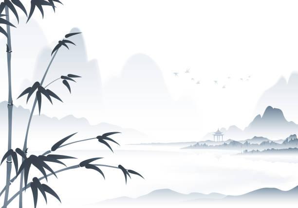 stockillustraties, clipart, cartoons en iconen met chinese landschap inkt schilderij met bamboe op de voorgrond - chinese cultuur