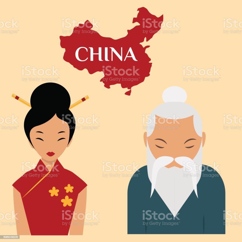 Chinese sensei old man asian elderly portrait woman person retired grandfather vector illustration vector art illustration