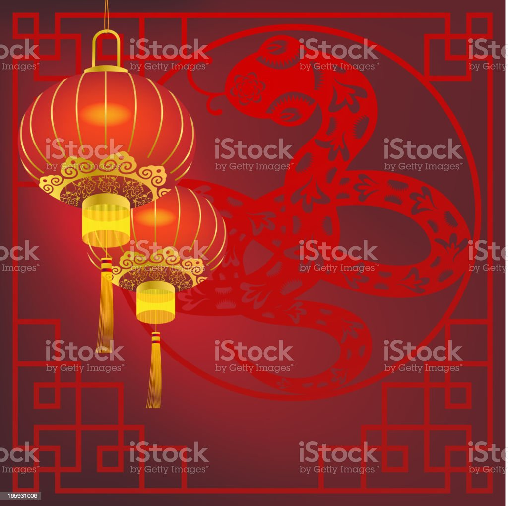 Chinese Snake with Lantern royalty-free stock vector art
