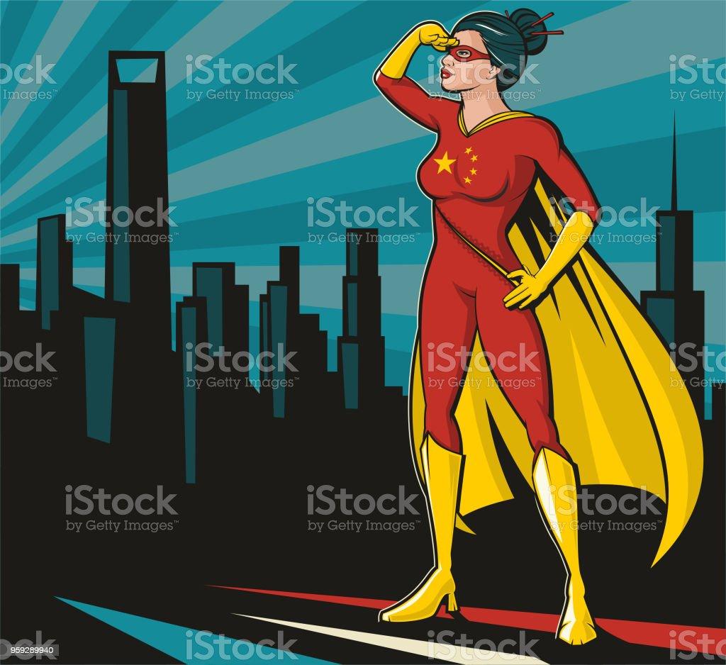Chinese Super Hero vector art illustration