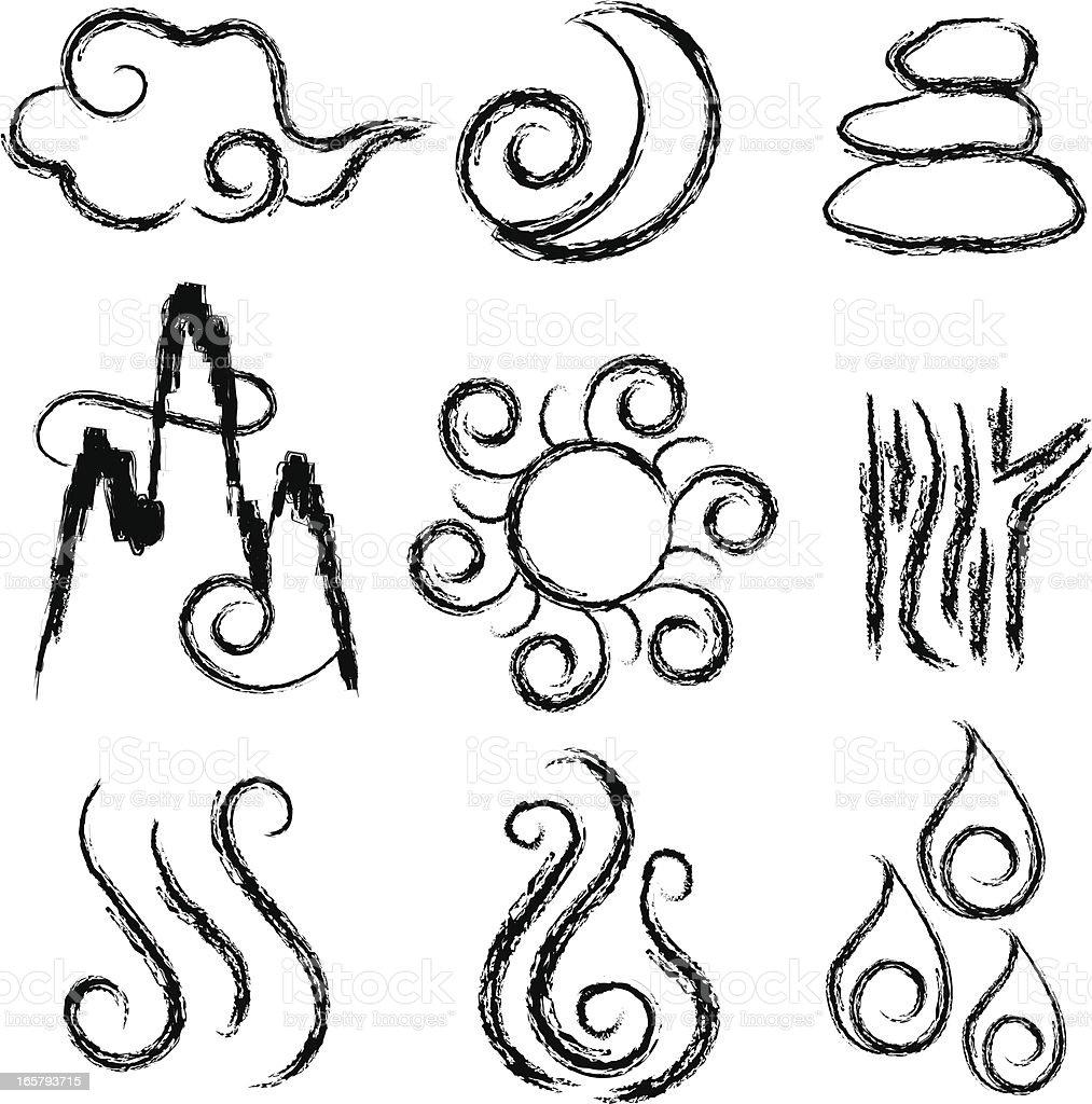 Chinese Symbol set vector art illustration