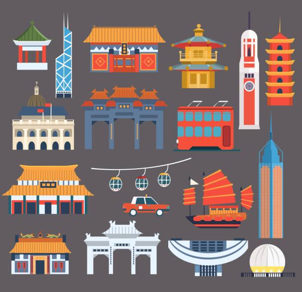 illustrazioni stock, clip art, cartoni animati e icone di tendenza di cinese luoghi simbolici collezione - hong kong
