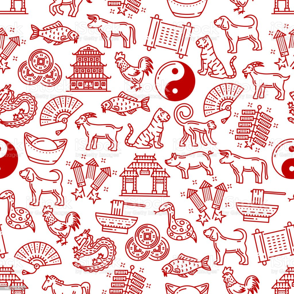 Chinese Symbols Seamless Vector Pattern Stock Vector Art More
