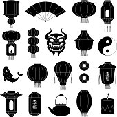 Chinese symbols silhouettes. Asian paper lanterns mask of dragon fish traditional china festive black vector illustrations