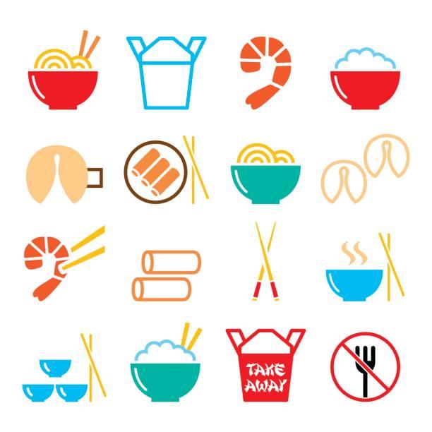 stockillustraties, clipart, cartoons en iconen met chinees meenemen voedsel pictogrammen - pasta, rijst, loempia's, gelukskoekjes - chicken bird in box