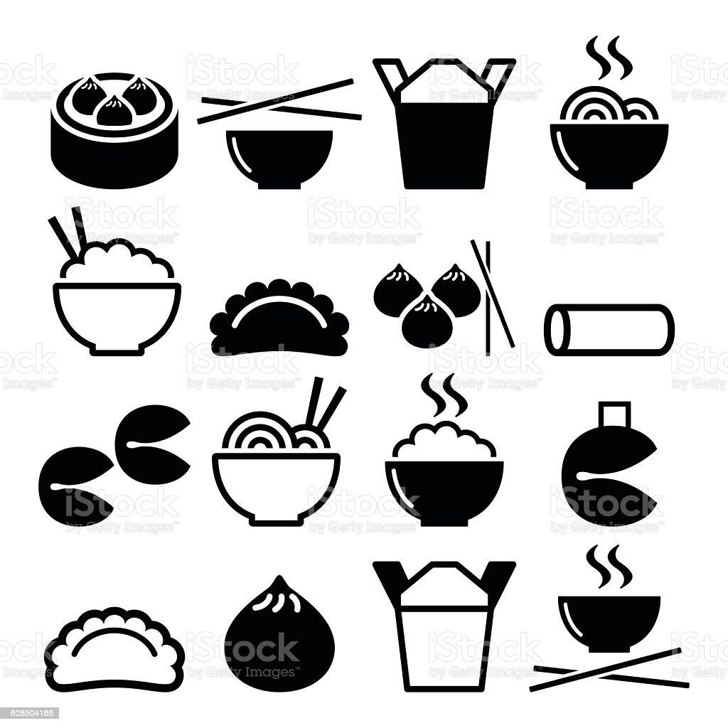 Chinese take away food - pasta, rice, spring rolls, dumplings - ilustración de arte vectorial