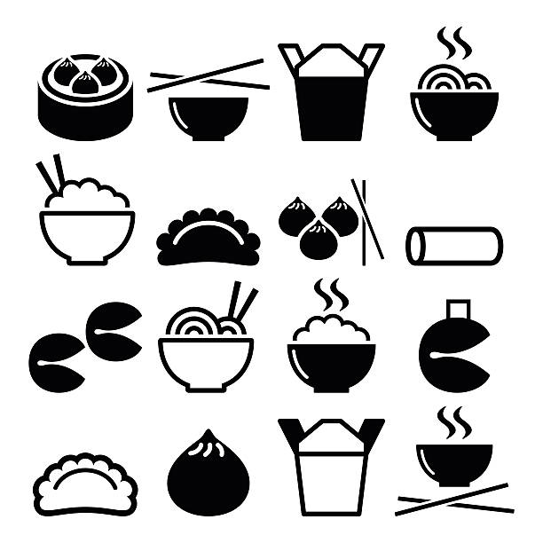 chinese take away food - pasta, rice, spring rolls, dumplings - chinese food stock illustrations, clip art, cartoons, & icons