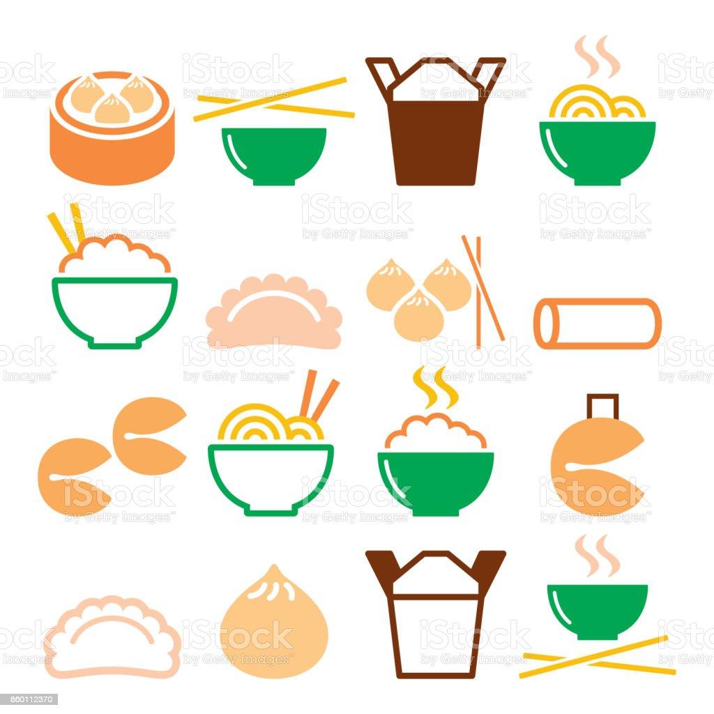 China comida para llevar - pasta, arroz, rollitos de primavera, galletas de la fortuna, bolas de masa hervida - ilustración de arte vectorial