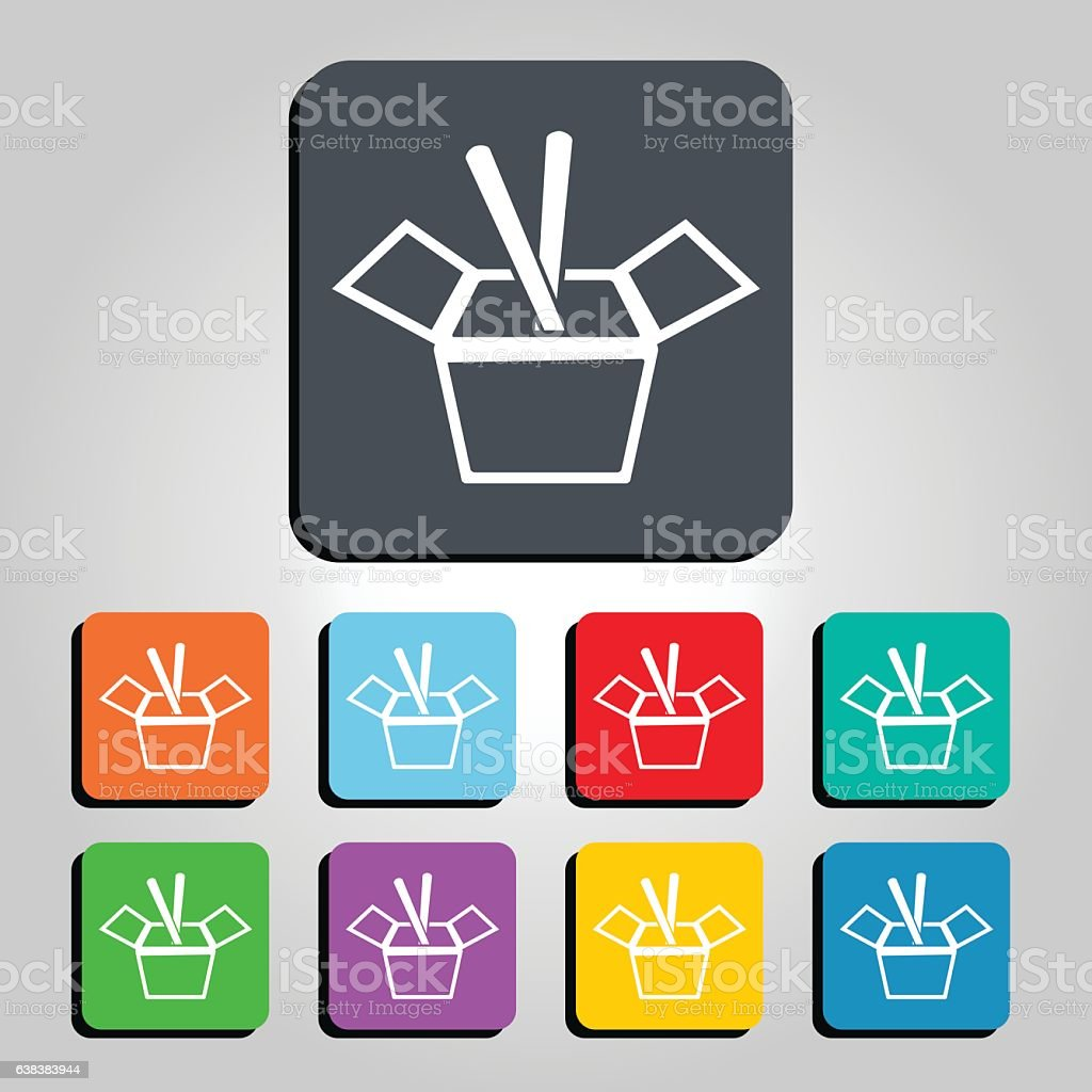 chinese take out food box vector icon illustration 638383944 istock. Black Bedroom Furniture Sets. Home Design Ideas