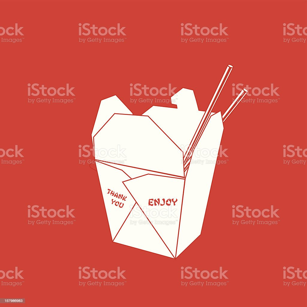 Chinese takeout box royalty-free stock vector art