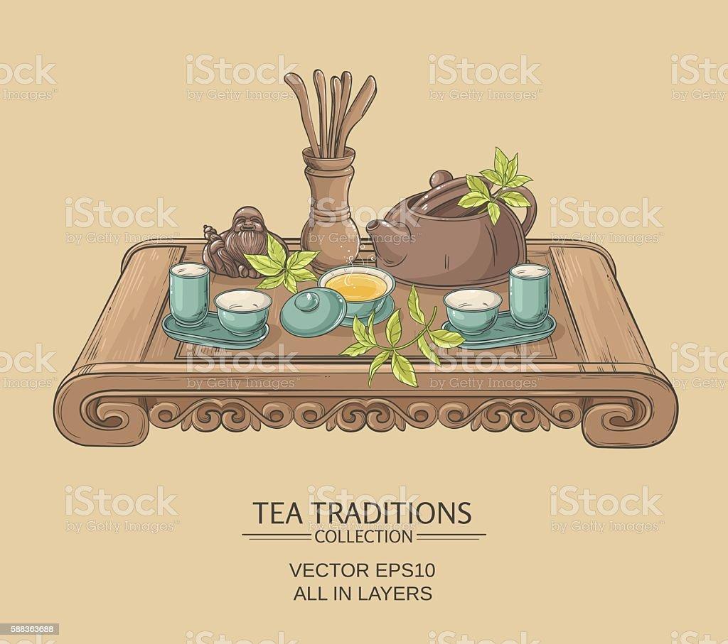 chinese tea ceremony vector art illustration