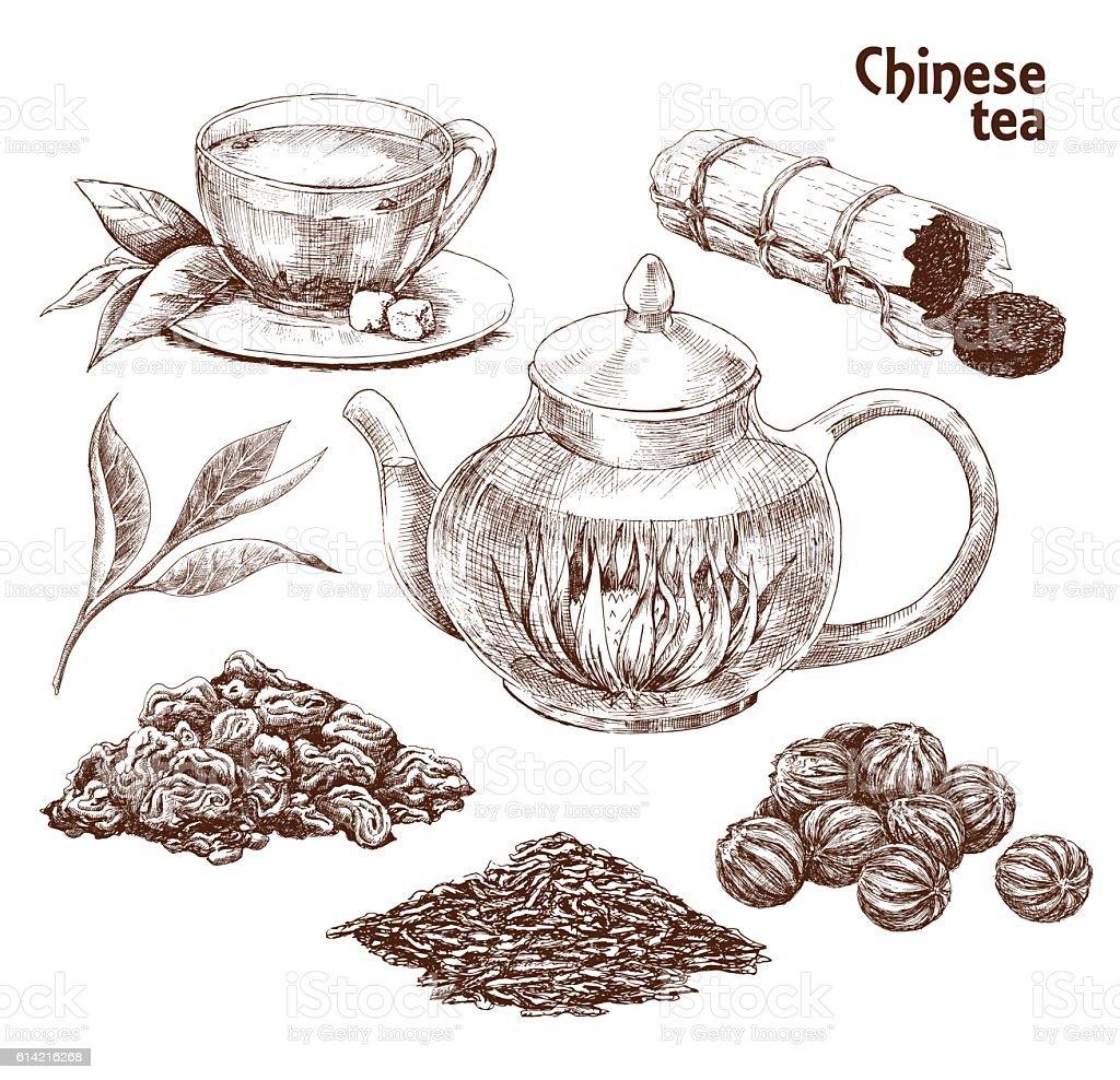 Chinese tea set vector art illustration