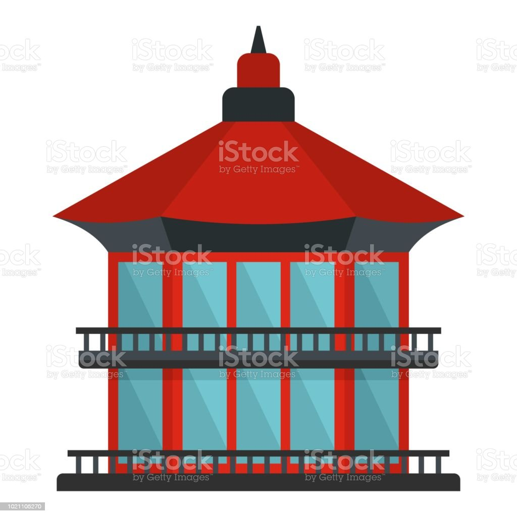 Chinese temple icon, flat style vector art illustration