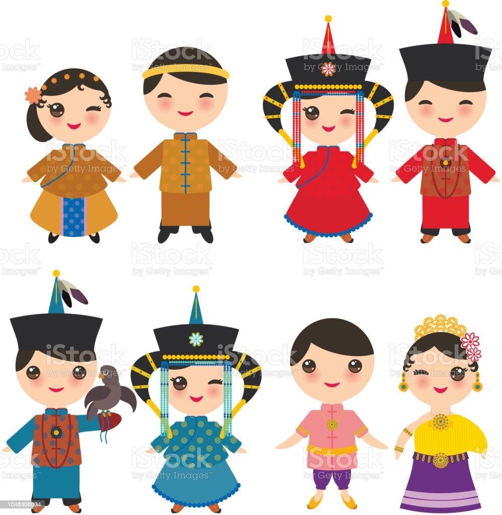 Kawaii Mongole Thai Chinois Garcon Et Fille En Costume National Et