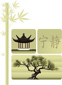 Chinese objects including bamboo, bonsai, gazebo and symbol for tranquility.