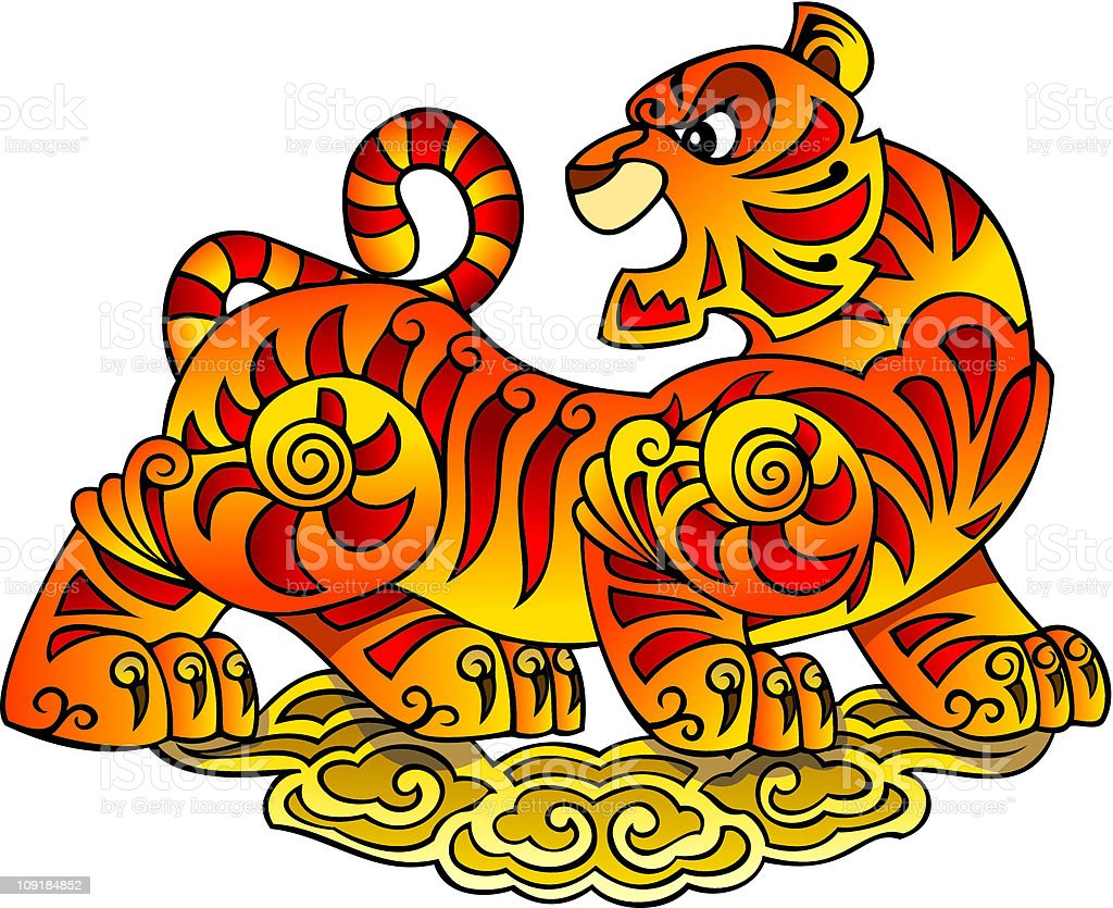 Chinese Tiger, symbol of 2010 year vector art illustration