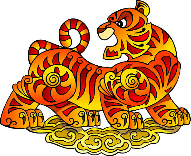 chinese tiger, symbol of 2010 year - wildlife calendar stock illustrations, clip art, cartoons, & icons