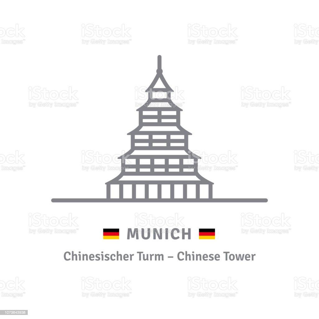 Chinesischen Turm in München Vektor icon – Vektorgrafik
