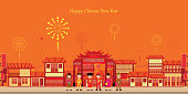 Chinese town celebrate party new year in China Town with chinese boy and girl ,happy chinese new year paper art and craft style vector illustration.