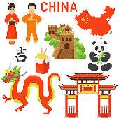 pixels, china retro design elements. Chinese character set