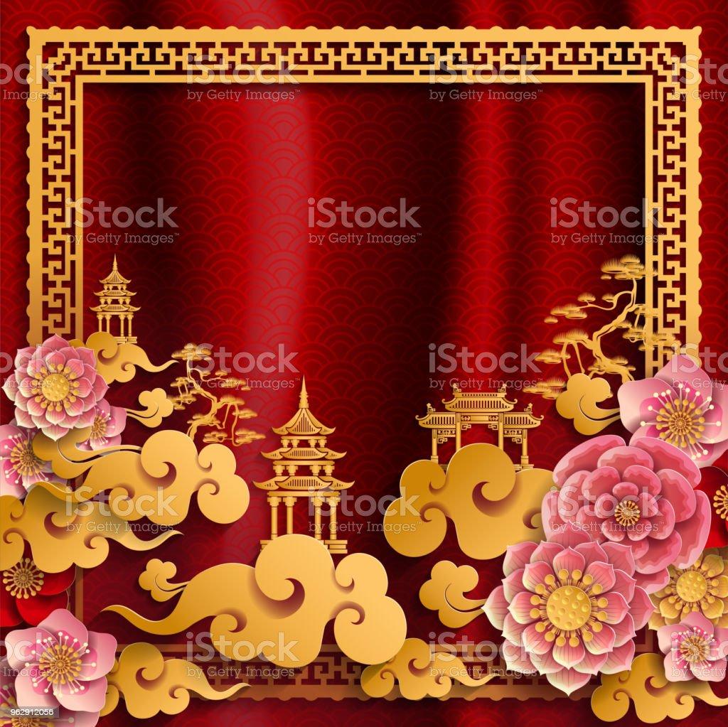 中国の伝統とアジアの要素背景の用紙の色の背景のテンプレート。 ベクターアートイラスト